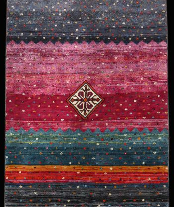 "Antique  Gabbeh Rug 4'4"" x 6'0""   #3056"