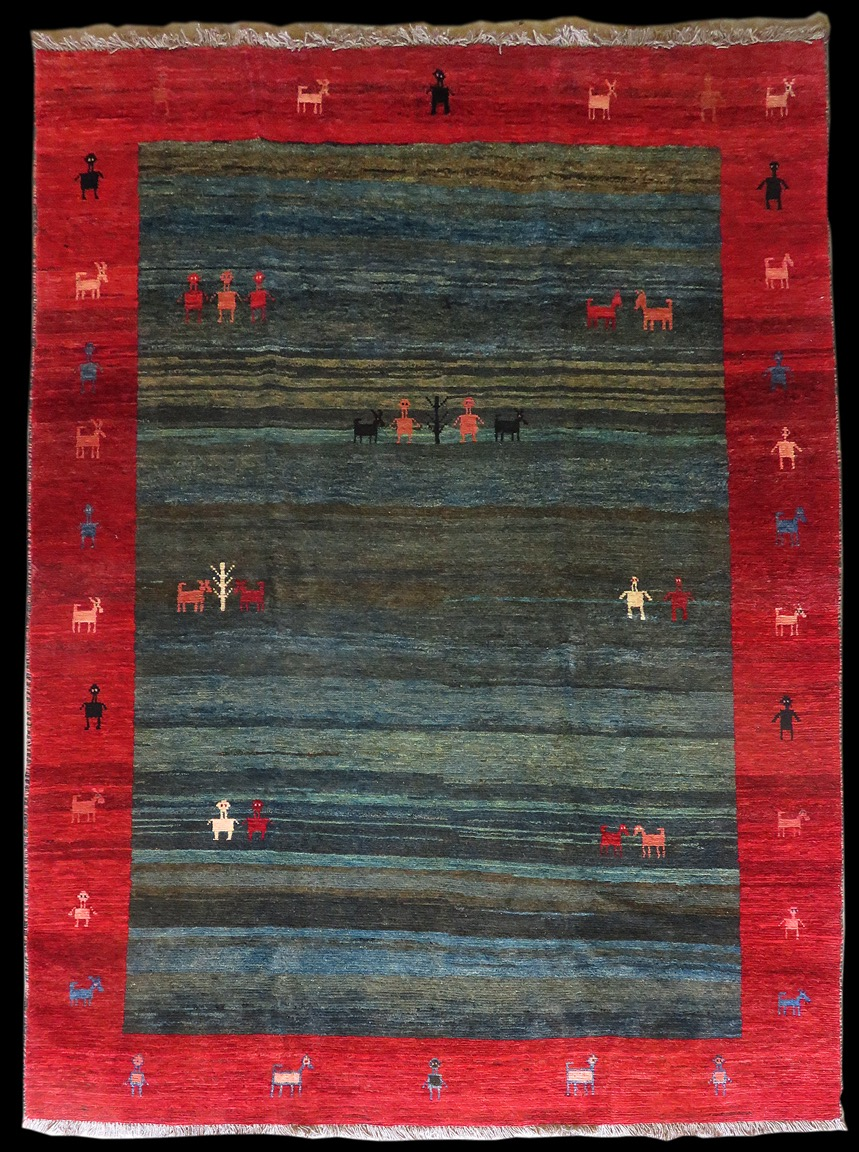 beautiful example of a nomadic tribal hand knotted rug.