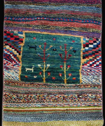 Hand Made Vintage Gabbeh Rug made of fine wool