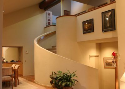 flooring accents highlight spiral staircase