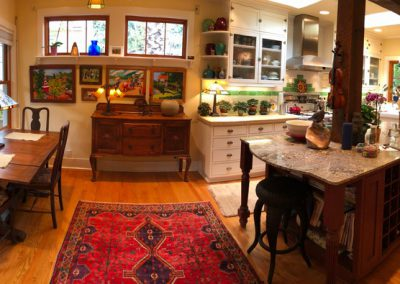 mid-century with large Persian area rugs