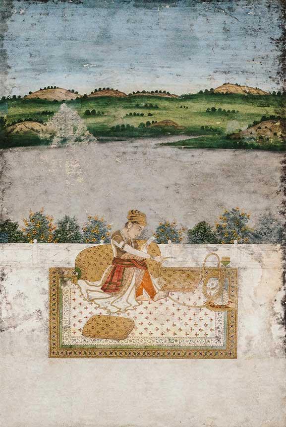 Nomadic woman preparing to move
