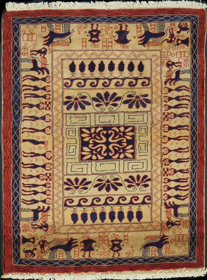 Antique hand-knotted Gabbeh Persian Rug
